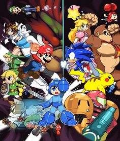 Link, Toon Link, Wii Fit Trainer, Blue Pikmin, Yellow Pikmin, Villager, Red Pikmin, Donkey Kong, Bowser, Fox, Mario, Samus, Mega Man, Pit, Luigi, Kirby, Peach, Sonic and Pikachu.