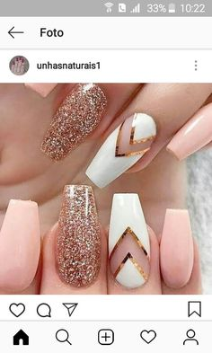 Nail Designs You Must Wear This Summer Stunning peachy pink nails with sparkly and white design accent nails using striping tape!Stunning peachy pink nails with sparkly and white design accent nails using striping tape! Best Acrylic Nails, Summer Acrylic Nails, Acrylic Nail Designs, Summer Nails, Summer Wear, Gold Nail Designs, Spring Nails, Summer Winter, Best Nail Art