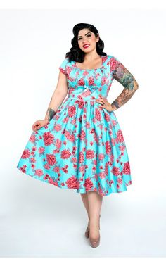Evelyn Dress in Baby Blue with Pink Roses - Plus Size   Pinup Girl Clothing