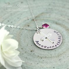 Personalized Hand Stamped Family Necklace, Personalized Cross Necklace, Family Necklace, Mommy Necklace, Silver Name Jewelry, Mom Gift, N050 by ANNBIJOUXNEWYORK on Etsy