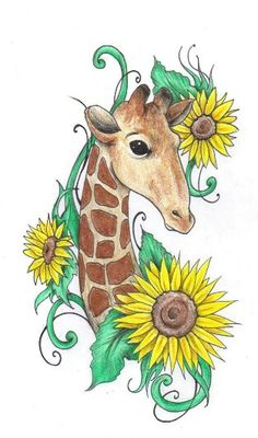 Two of my favorite things-giraffes and sunflowers