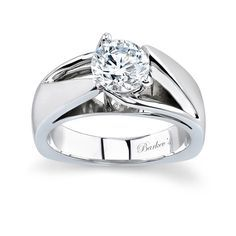 Round Solitaire Engagement Ring - 5074LW - Dramatic, sure to catch the eye of many admirers this white gold solitaire engagement ring is artfully designed with a split shank and cathedral shoulders rising to the prong-set center diamond; a bright polished gallery adds to the contemporary feel. Also available in two-tone, all yellow gold, 18k and Platinum.