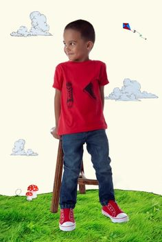 Designer boy clothing - Fox & Finch Tomas Shoes Tee - $32.95 - Hip, stylish and funky to boot!  Boys Tomas Shoes short sleeve summer tee by Fox and Finch!   Fox & Finch is a gorgeous range brought to you by Minihaha (Bebe) - beautiful clothing at reasonable prices.  Colour: Red. Designer boy clothing - Fox & Finch