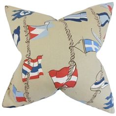 Lend a unique and contemporary look to your interiors with this toss pillow. This accent piece features a variety of flags in shades of red, blue and white. Transform your sofa, bed or seat with a few pieces of this decor pillow. Made with a blend of high-quality materials: 55% cotton and 45% linen. $55.00    #pillows    #homedecor    #tosspillow    #flags   #interiorstyling