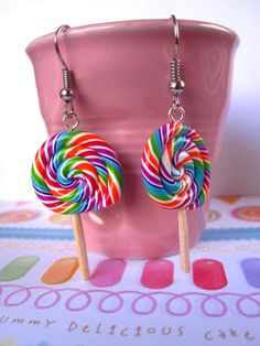colorfull lollipops Lollipops, Miniature Food, Clay Projects, Miniatures, Jewellery, Cake, Desserts, Gifts, Handmade