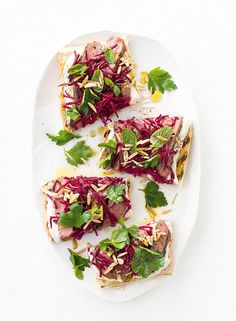 This is the perfect quick and easy midweek meal. Simply toast bread, spread with tangy yoghurt and top with delicious slices of lamb, crunch beetroot and nuts.