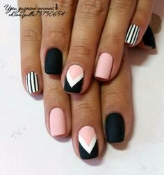 Black white and pink nail design Classy Nails, Stylish Nails, Simple Nails, Trendy Nails, Nagellack Design, Nagel Hacks, Fire Nails, Best Acrylic Nails, Dream Nails