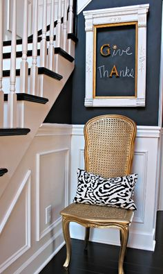Blackboard Walls As Art | House & Home - moulding below, chalkboard above