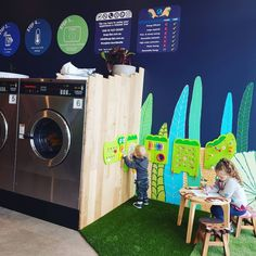 Making kid friendly Laundromats allows parents to be more productive.