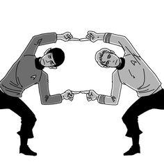 star trek fusion by 224umi.deviantart.com - #fanart - Spock and Kirk doing the DBZ fusion dance.
