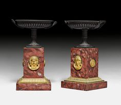 """c1830-40 PAIR OF BOWLS WITH HANDLES,  French Restoration, Paris ca. 1830/40.  Gilt and patinated bronze and """"Griotte Rouge"""" marble.  H 24 cm Sold for CHF 1 800 (hammer price)"""