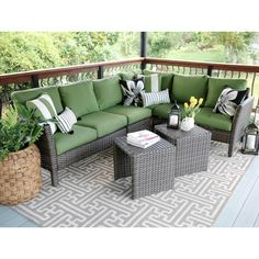 Spruce up your patio furniture by choosing this beautiful Leisure Made Canton Wicker Outdoor Sectional Set with Green Cushions. Sectional Patio Furniture, Outdoor Wicker Furniture, Patio Furniture Sets, Outdoor Sectional, Outdoor Decor, Corner Sectional, Furniture Layout, Metal Furniture, Inexpensive Patio Furniture