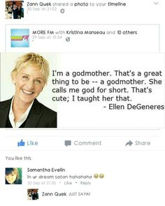 "#DaveWaterlysays, ""So my mommy @samevex5 & my gan ma (godmother) @zannhayley were having this argument the other day. . Apparently someone intends to make me call her God "" (Wed30Sep15) ♡ #DaversonWaterly #facebook #facebookpost #facebookcomments #ellendegeneres #ellendegeneresquote #quote #instaquote #ganma #godmother #nickname #qotd #quoteoftheday"