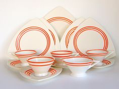 Vintage Dinnerware: Atomic Art Deco Salem Streamline Tricorne, Creamsicle Orange…