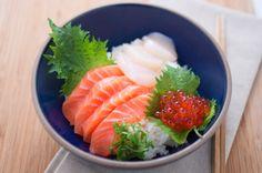 Salmon, Salmon Eggs, and Scallop Chirashi