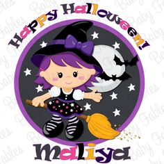 Halloween Iron On  Purple Witch by babyfables on Etsy, $5.00
