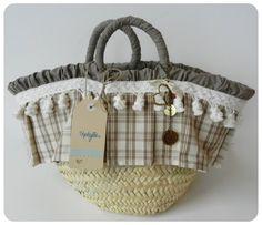 Beige Pon Pon Straw Bag