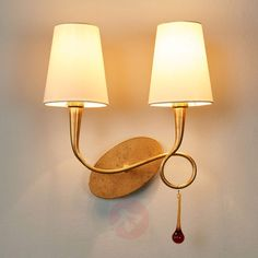 Paola gylden væglampe, 2 lyskilder-6542156-01