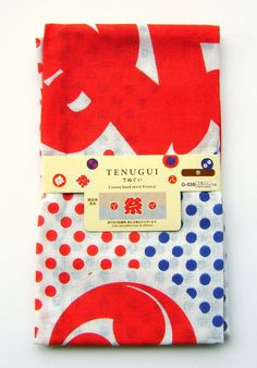 Japanese Hand Towel Traditional Tenugui 100% Red Blue White Festival
