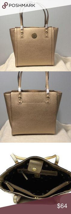 Anne Klein Front Runner Pebble Tote Goldust NWT This bag is made of faux leather with a pebble texture. It has an inside divided zipper compartment, a smaller zipper pocket and two slide pockets to fit a cell phone. The outside back also has a pocket. This bag is new with tag. Anne Klein Bags Totes
