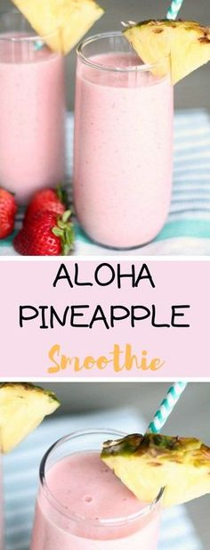 Aloha Pineapple Smoothie ít ís gettíng HOT here ín Texas, and the kíds just got out of school. í am defínítely ready for a delícíous smoothíe whíle í watch the kíds fun ín th… Smoothie Prep, Blackberry Smoothie, Smoothie Packs, Fruit Smoothie Recipes, Yummy Smoothies, Juice Smoothie, Yummy Drinks, Healthy Drinks, Smoothie Drinks