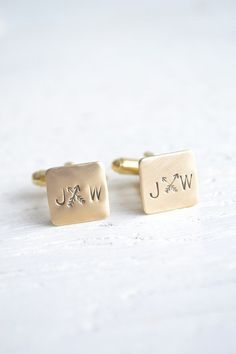 Personalized cross arrows and initial stamped boho chic cufflinks (also available in silver)