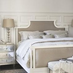 Linda McDougald Design - bedrooms - decorative, wall moldings, mirrored, nightstands, mushroom, linen, bed, gray, bedding, French, white, be...