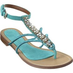 OMG so flippin' cute! Nine West Jeweled thong suede upper sandal. Cute Shoes, On Shoes, Me Too Shoes, Shoe Boots, Flat Shoes, Flat Sandals, Jet Set, So Little Time, Nine West