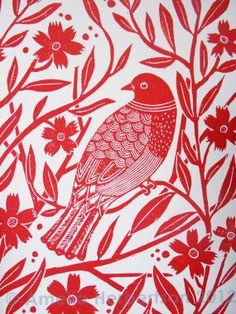 Original Lino Print Bird by AmeliaHerbertson