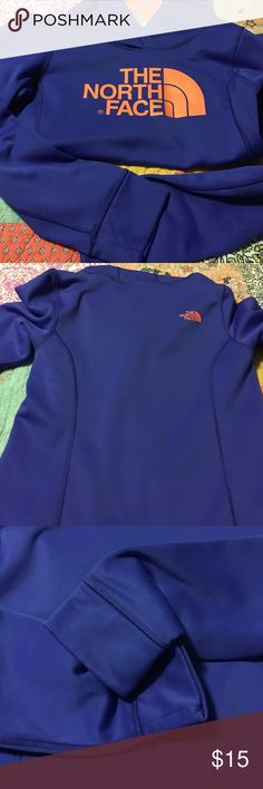 North Face sweatshirt size small Bright blue and neon orange  perfect condition size small The North Face Tops Sweatshirts & Hoodies