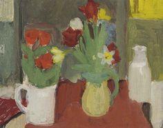 Tulips and Milk Bottle No.1, 1960, Fairfield Porter.