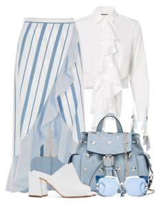 Striped Maxi Skirt & Ruffled Top by brendariley-1 on Polyvore featuring polyvore fashion style Alexis River Island Maryam Nassir Zadeh RED Valentino Chan Luu Pared clothing