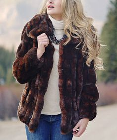 Look at this Donna Salyers' Fabulous-Furs Brown Faux Fur Coat - Plus Too on #zulily today!