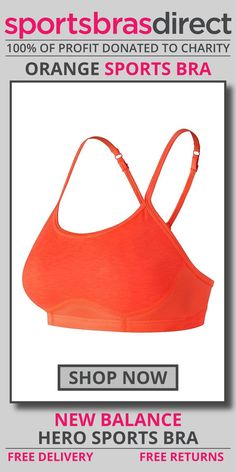 Bring it on in this playful bra for high impact sports. The pullover racerback style with slender adjustable straps adds a stylish flair under your running tank. The Hero Orange Sports Bra by New Balance offers support in a simple, flattering silhouette. Shop now! #bra #sportsbra #orange #orangebra #orangesportsbra
