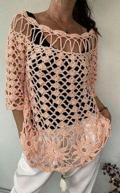 Crochet Cardigan Pattern, Crochet Jacket, Crochet Blouse, Crochet Top, Filet Crochet Charts, Crochet Stitches Patterns, Unique Clothes For Women, Freeform Crochet, Crochet Fashion