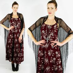 vtg 90s boho gypsy SHEER LACE CROCHET FRINGE shawl wrap cape jacket top S/M/L $18.00