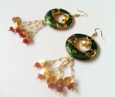 Ruby Chandelier earrings ,oxblood Chand Bali,Vintage,Etsy Earrings ...