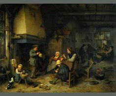 Title 'Farmer party indoors' (1661). By Adriaen van Ostade.