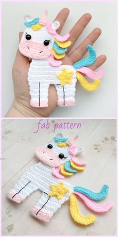 Unicorn Applique Crochet Patterns Free & Paid - Crochet - Diy and crafts interests Crochet Simple, Crochet Diy, Crochet Amigurumi, Crochet Crafts, Crochet Ideas, Diy Crafts, Crochet Applique Patterns Free, Crochet Motifs, Knitting Patterns