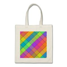 Abstract colourful block design tote bag - simple clear clean design style unique diy
