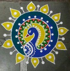Browse Beautiful peacock rangoli designs for diwali Simple Rangoli Border Designs, Rangoli Designs Peacock, Free Hand Rangoli Design, Small Rangoli Design, Colorful Rangoli Designs, Rangoli Designs Diwali, Diwali Rangoli, Beautiful Rangoli Designs, Kolam Designs