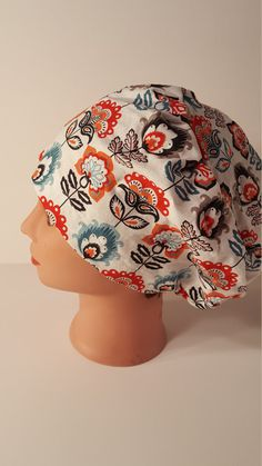 Abstract Teal and Red Flower Euro Style scrub cap by TheMadCappers