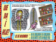 """SÉRIE """"QUE DIA É HOJE?"""" 25  03 de Novembro - Dia do Cabeleireiro e da Cabeleireira; dia do direito e voto da mulher (1930)  Para comemorar as duas datas trago ilustrações internas do livro """"A Biblioteca Encantada"""", de Deucelia Maciel - Literarte - 2012  #quediaéhoje #datas #datascomemorativas #diadocabeleireiro #diadacabeleireira """"diadodireitoevotodamulhr #diadodireitodamulher #direitodamulher #diadovotodamulher #diadovotofeminino #votofeminino"""