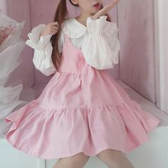 Like or comments Cute pink dress 🤗🤗 New in youvimi store click my link in bio to see more detail Trumpet Sleeve Shirt + Pink Dress Estilo Harajuku, Harajuku Mode, Harajuku Fashion, Kawaii Fashion, Lolita Fashion, Cute Fashion, Fashion Outfits, Pastel Fashion, Fashion Styles