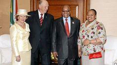 2009 - norsk statsbesøk til Sør-Afrika. Kongeparet tatt i mot av president Jacob Zuma og fru Zuma
