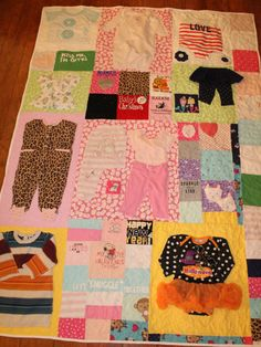 Babys first year quilt, Baby memory quilt, baby clothes quilt, quilt made from baby clothes, Memory quilt, remembrance quilt,Appliqued quilt by DollyWollySewing on Etsy