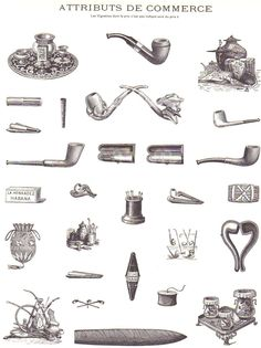 247fb3b1a62 Vintage French Illustrations of Mens Hats Pocket Watches Pipes and  Billiards Attributs De Commerce France Advertising Art from early 1900s