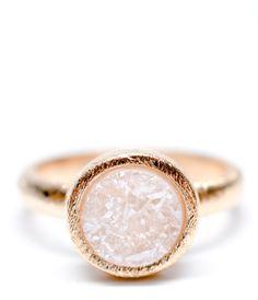 Tiny Druzy Ring Titanium Quartz Gold-Filled Band