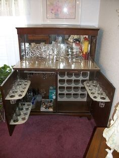 1940 Home Bar Cabinet | Vintage, 1950u0027s Liquor Cabinet ~ Home Pub Complete  With Glassware