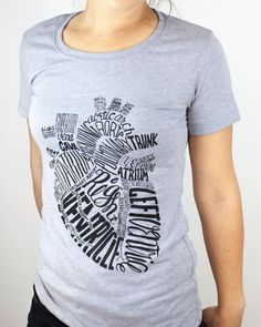 Hand Drawn Typographic Heart T-Shirt | Anatomical Heart Tee Shirt, med student, typography, Unisex & Women's Sizes S-XXL, Science Tee Shirt